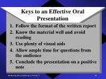 keys to an effective oral presentation