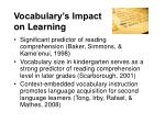 vocabulary s impact on learning
