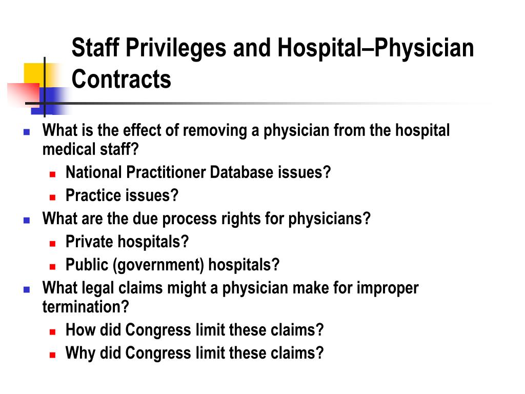 Staff Privileges and Hospital–Physician Contracts
