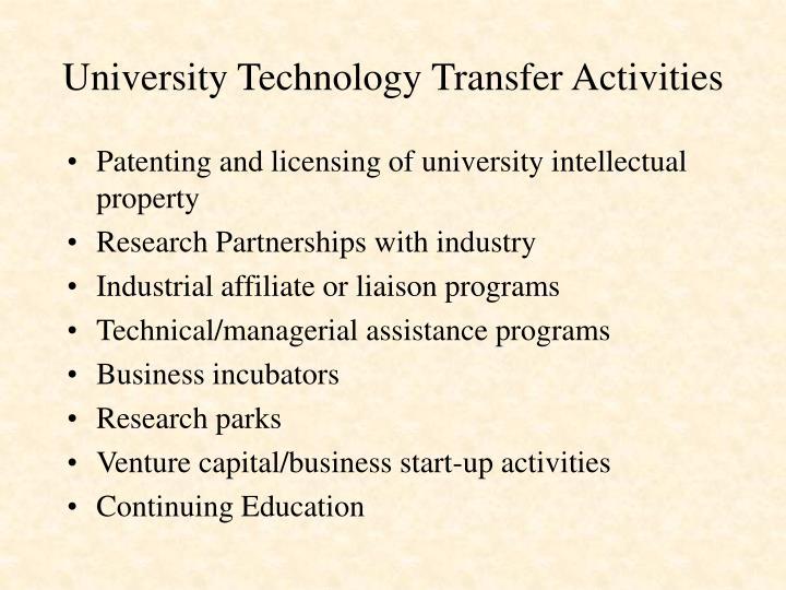 University technology transfer activities