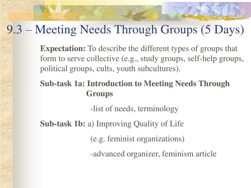 9.3 – Meeting Needs Through Groups (5 Days)
