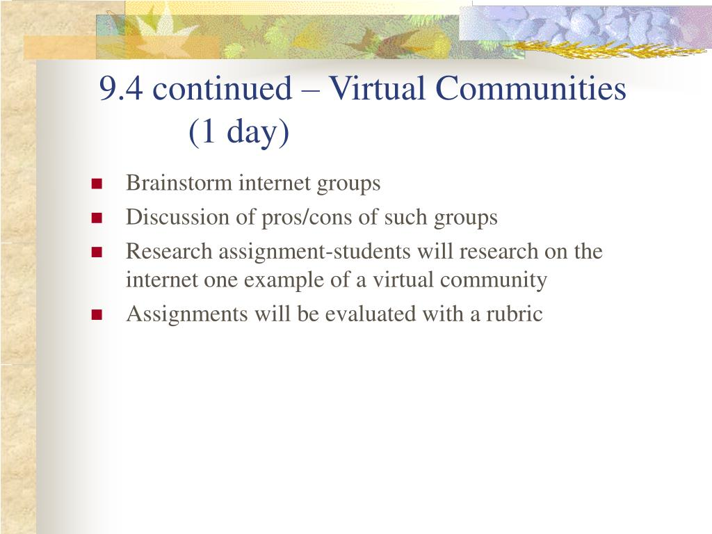 9.4 continued – Virtual Communities