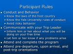 participant rules