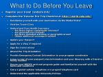 what to do before you leave