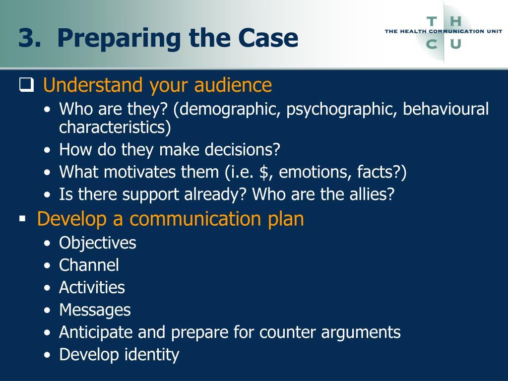 3.  Preparing the Case