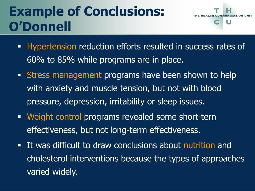 Example of Conclusions: O'Donnell