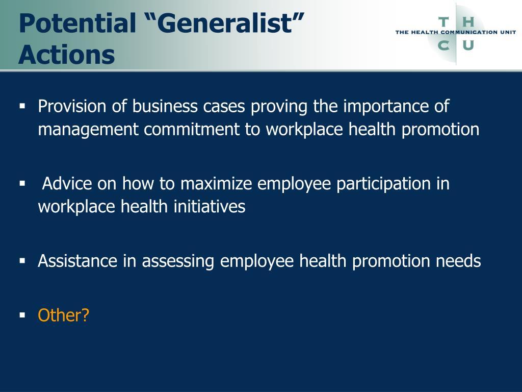 """Potential """"Generalist"""" Actions"""