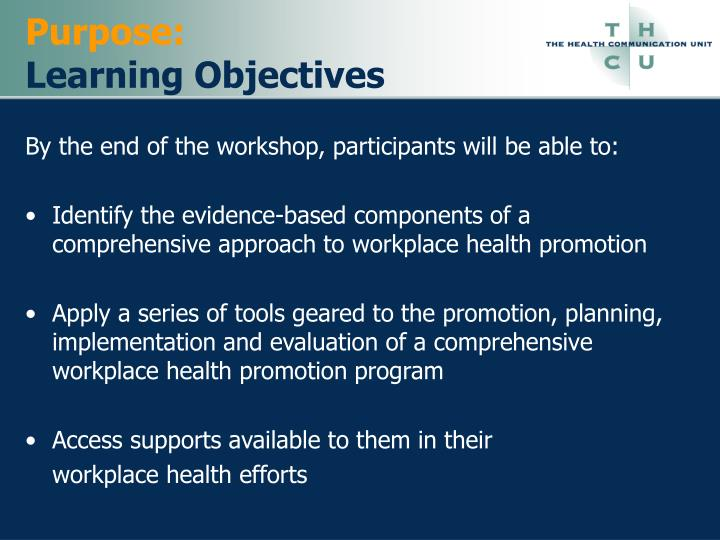 Purpose learning objectives