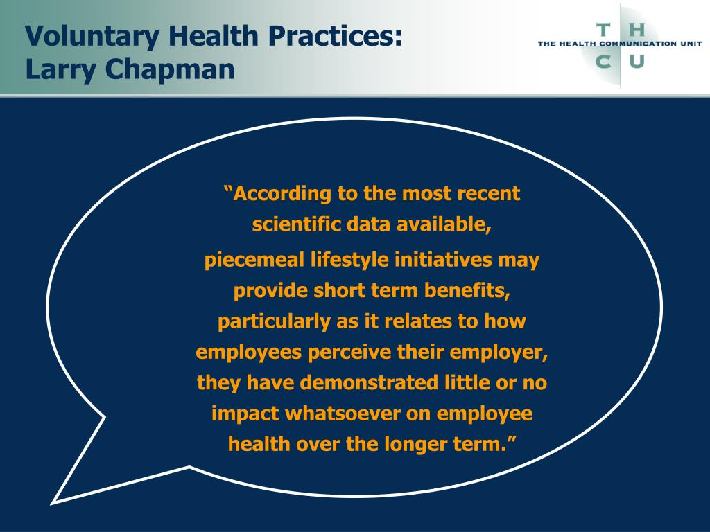 Voluntary Health Practices: