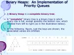 binary heaps an implementation of priority queues