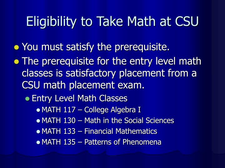 Eligibility to take math at csu