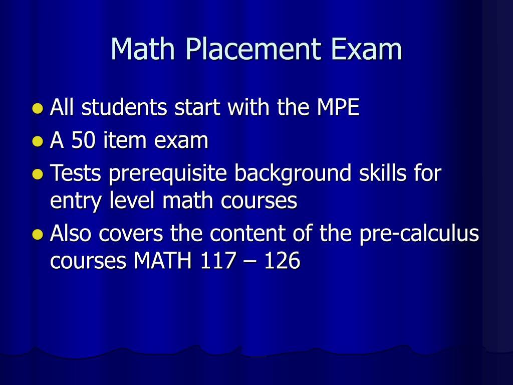 Math Placement Exam