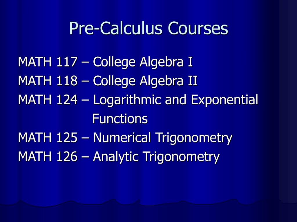 Pre-Calculus Courses