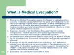 what is medical evacuation