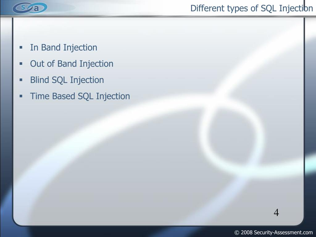 Different types of SQL Injection