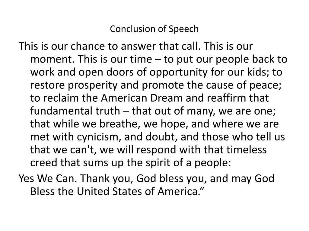 Conclusion of Speech