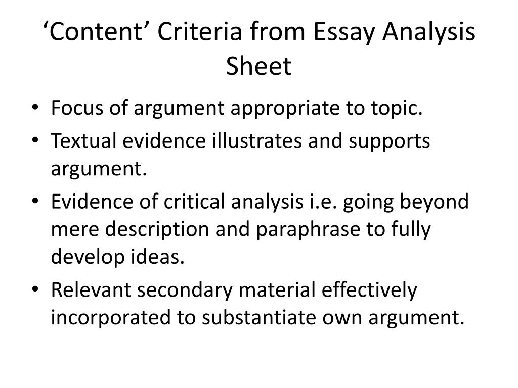 'Content' Criteria from Essay Analysis Sheet