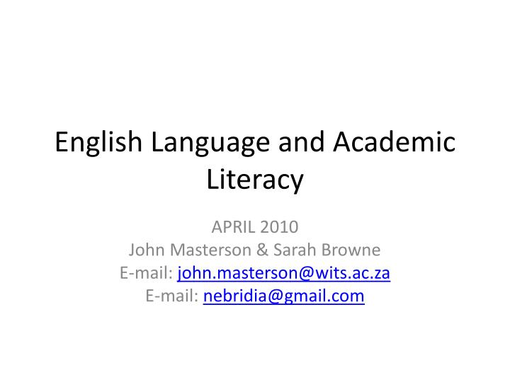 English language and academic literacy