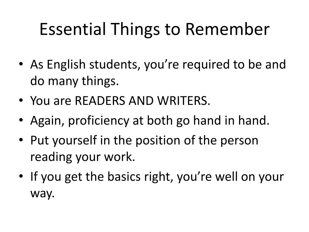 Essential Things to Remember