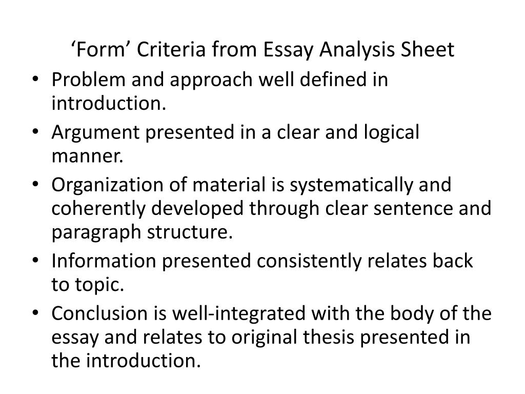 'Form' Criteria from Essay Analysis Sheet