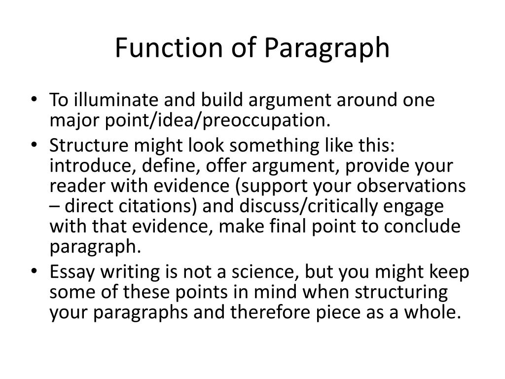 Function of Paragraph
