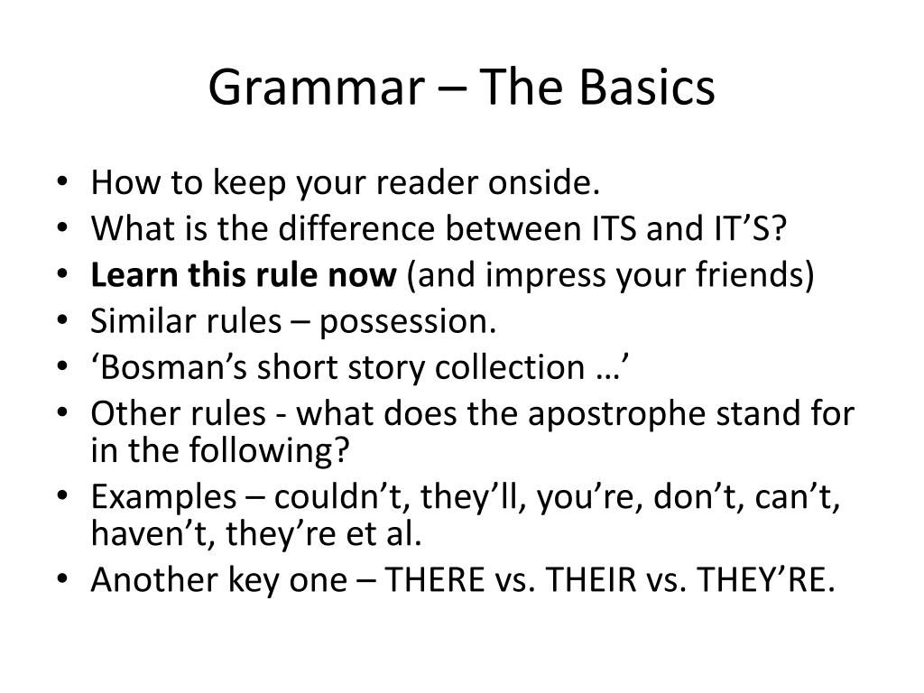 Grammar – The Basics