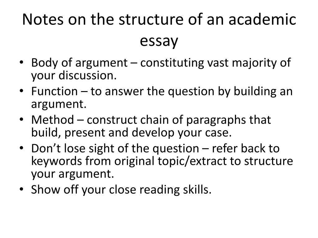 Notes on the structure of an academic essay
