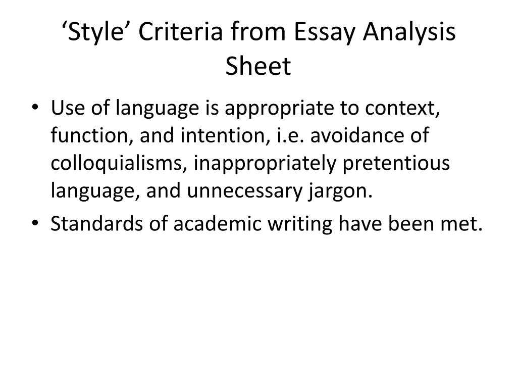 'Style' Criteria from Essay Analysis Sheet