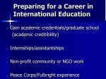 preparing for a career in international education