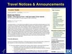 travel notices announcements