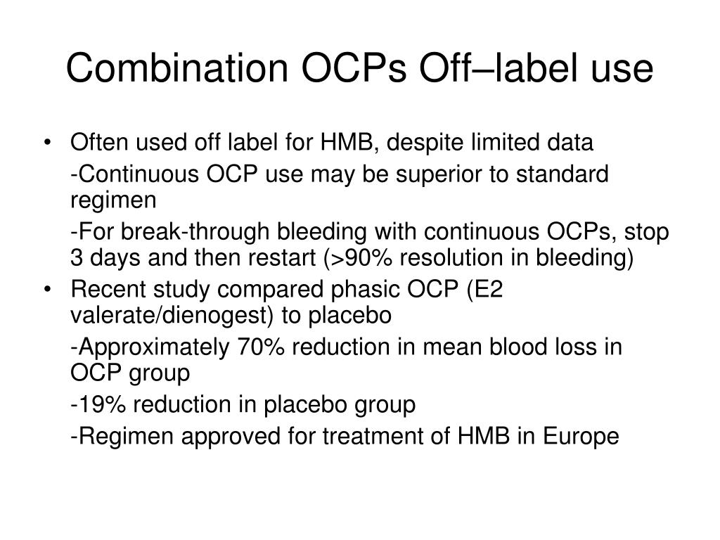 Combination OCPs Off–label use