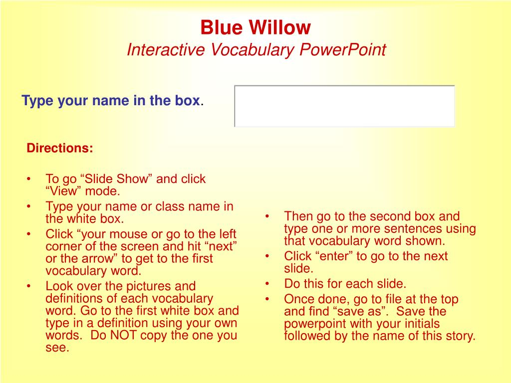 blue willow interactive vocabulary powerpoint l.