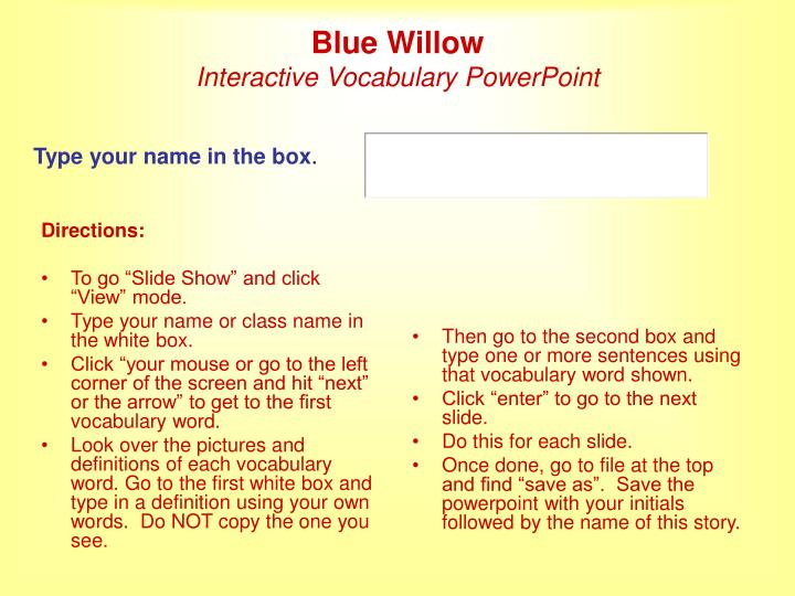 blue willow interactive vocabulary powerpoint n.
