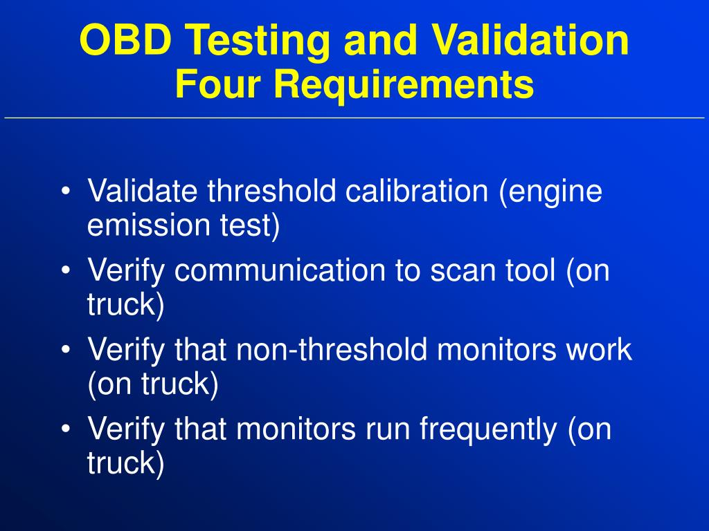 OBD Testing and Validation