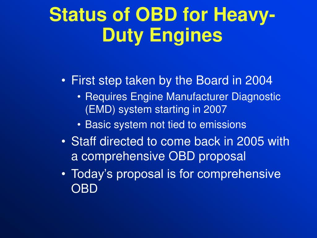 Status of OBD for Heavy-Duty Engines