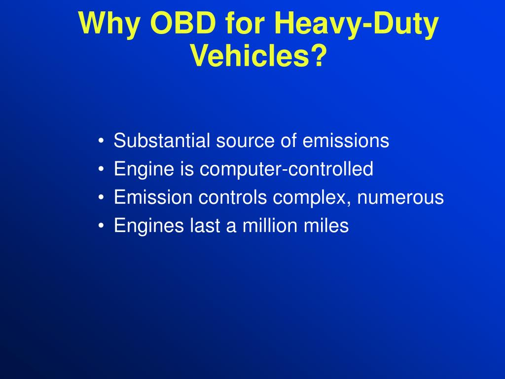 Why OBD for Heavy-Duty Vehicles?