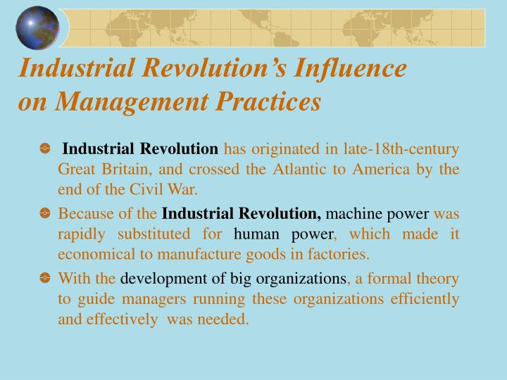 Industrial revolution s influence on management practices