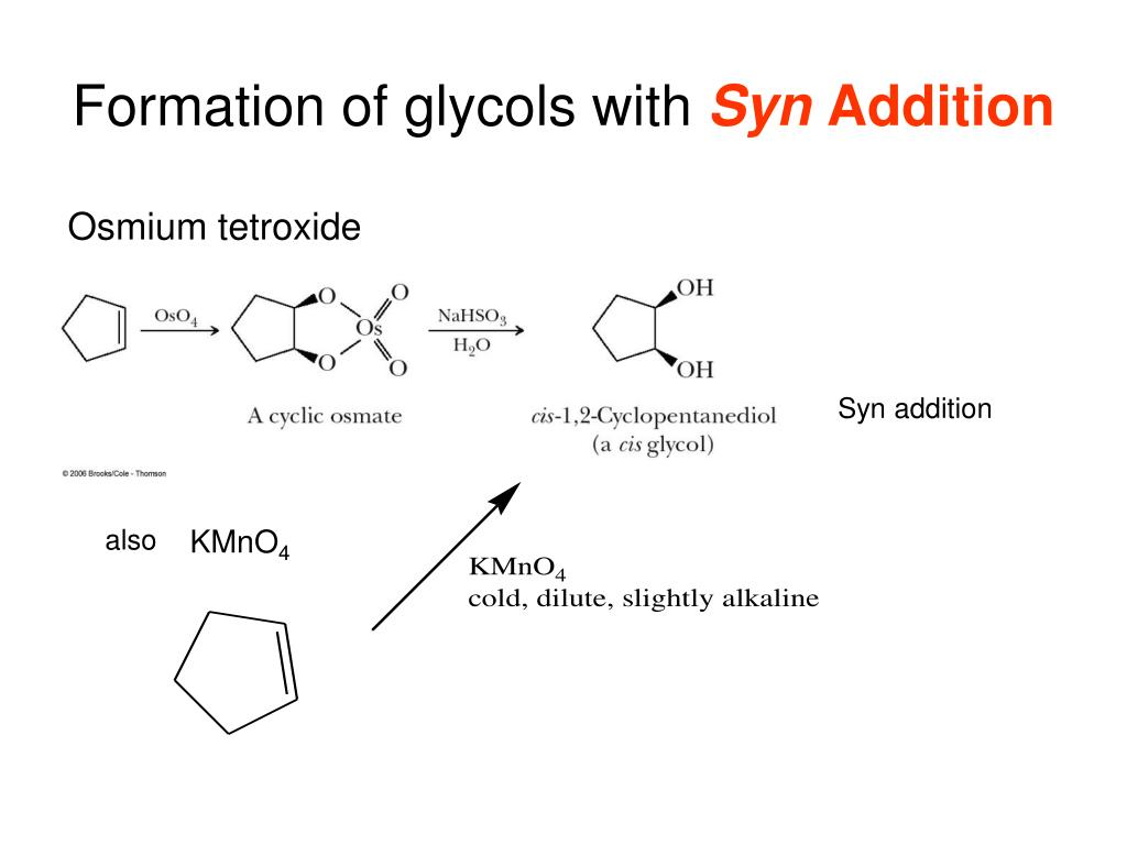 formation of glycols with syn addition l.
