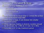 treatment duration area