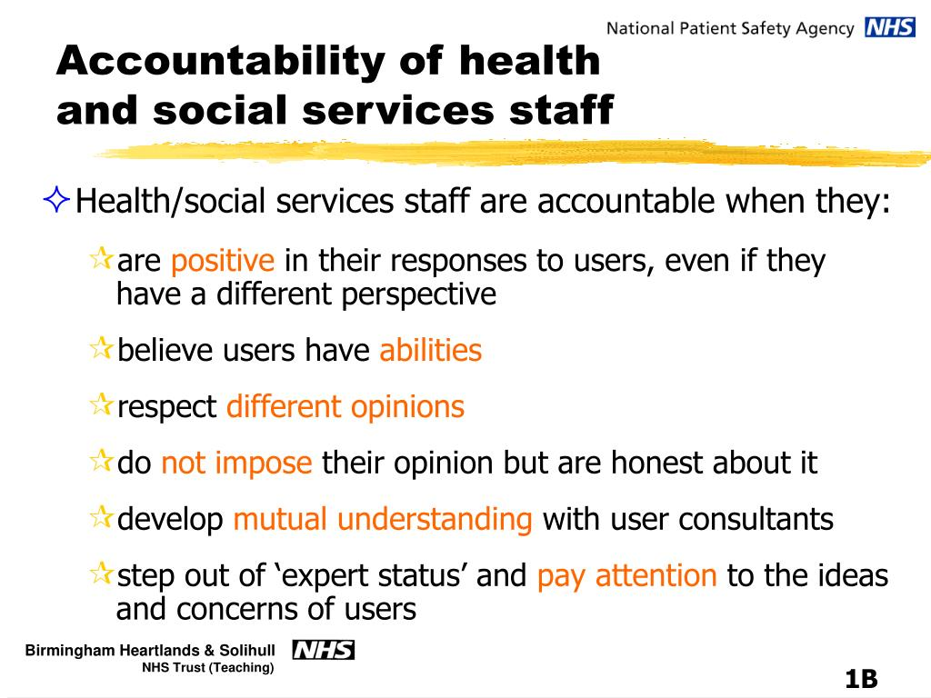 Accountability of health and social services