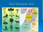 each tribe given land
