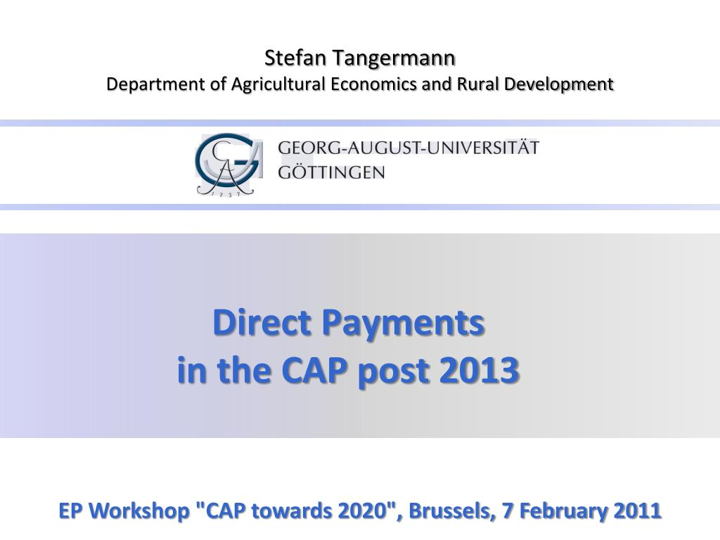 direct payments in the cap post 2013 l.