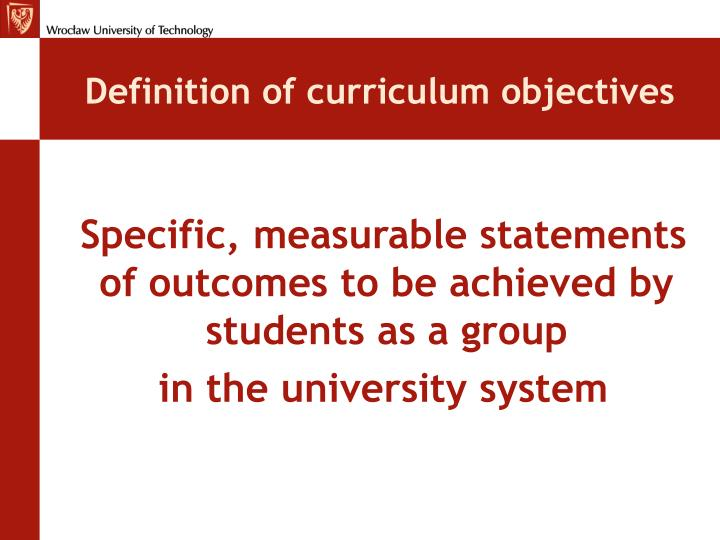 Definition of curriculum objectives