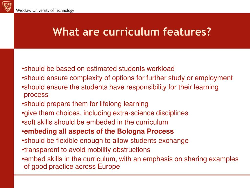 What are curriculum features?