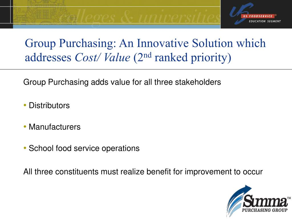 Group Purchasing: An Innovative Solution which addresses