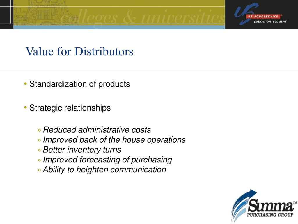 Value for Distributors