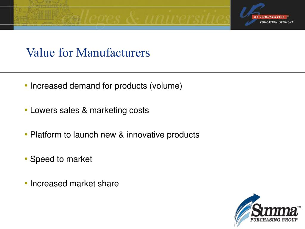 Value for Manufacturers