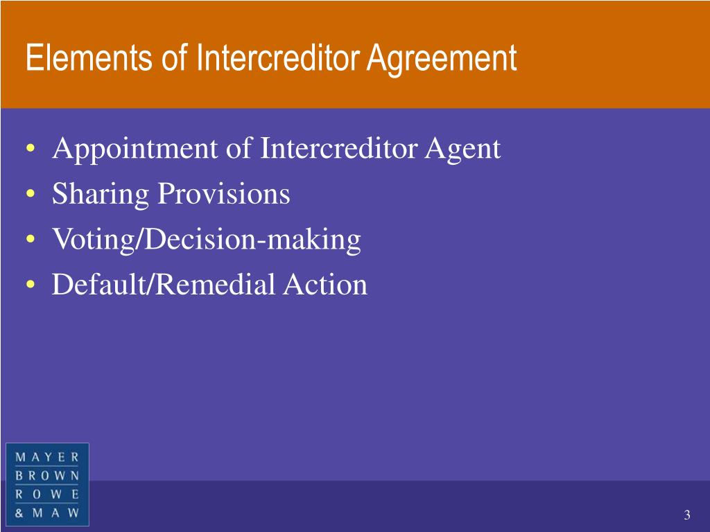 Elements of Intercreditor Agreement