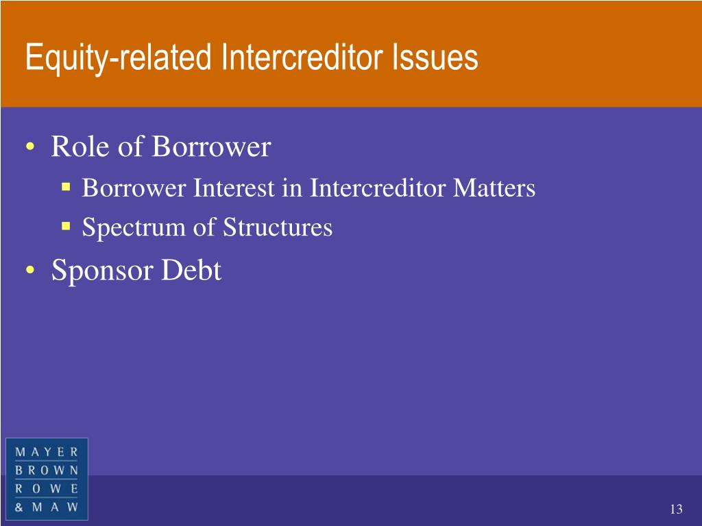 Equity-related Intercreditor Issues