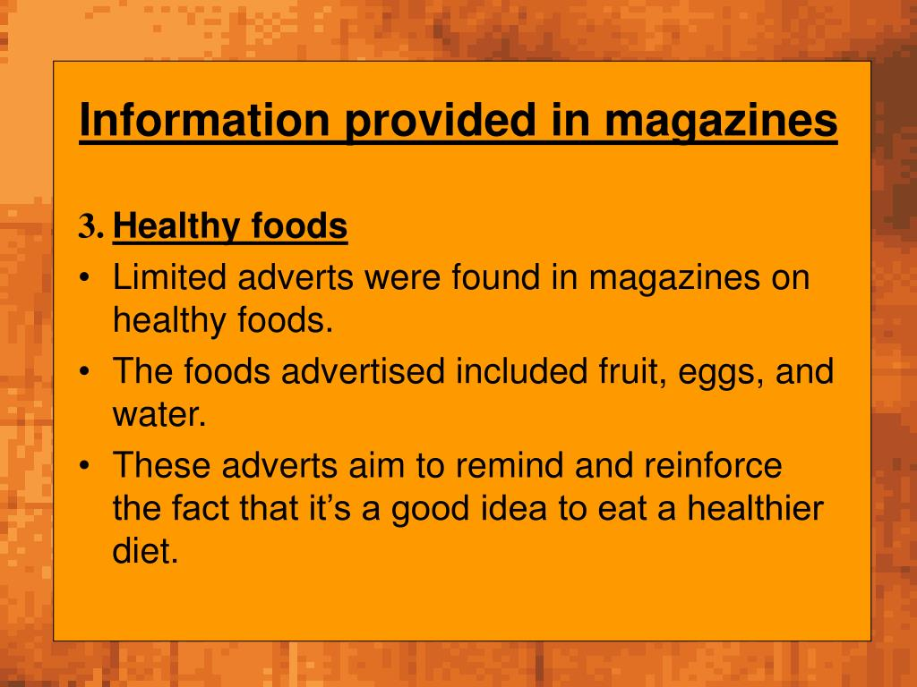 Information provided in magazines